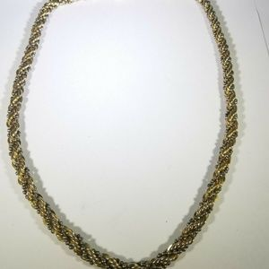 Gold Silver Tone Braided Thick Necklace